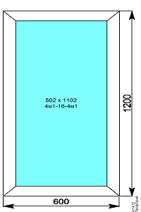 Окно пвх 600х1200 мм глухое
