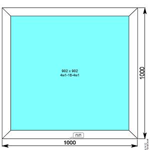 Окно пвх 1000х1000 мм глухое