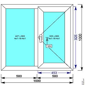 Окно пвх двухстворчатое 1000х1000 мм с 1й поворотной створкой