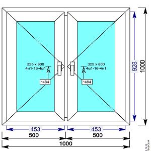 Окно пвх двухстворчатое 1000х1000 мм с 2 мя поворотными створками