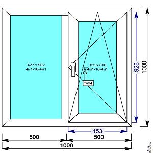 Окно пвх двухстворчатое 1000х1000 мм с 1й пов.откидной створкой