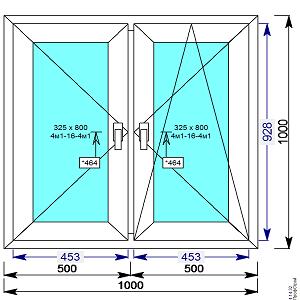 Окно пвх двухстворчатое 1000х1000 мм с 2 мя пов/пов.откидной створкой