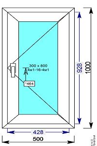 Окно пвх 500х1000 мм поворотное