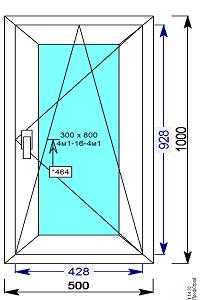 Окно пвх 500х1000 мм пов.откидное