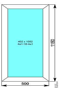 Окно пвх глухое 500х1150 мм