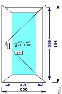 Окно пвх 500х1160 мм поворотное