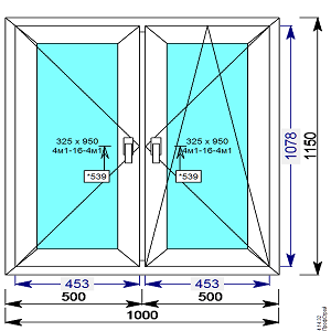 Окно пвх двухстворчатое 1000х1150 мм с 2 мя пов/пов.откидной створкой