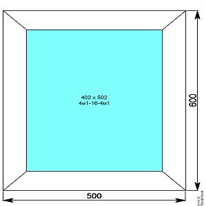 Окно пвх 500х600 мм глухое
