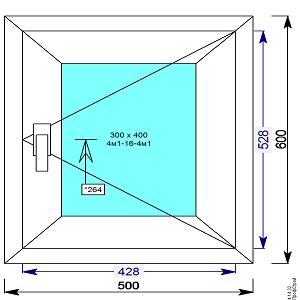 Окно пвх 500х600 мм поворотное