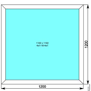 Окно пвх 1200х1200 мм глухое
