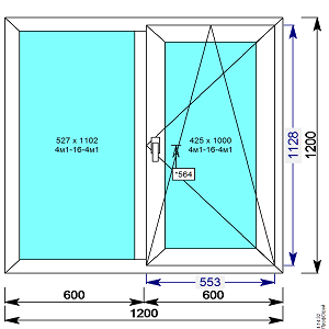 Окно пвх 1200х1200 мм двухстворчатое с 1й пов/откидной створкой