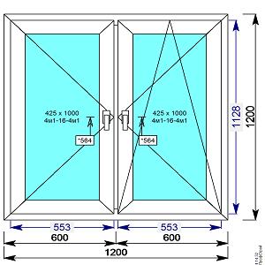 Окно пвх 1200х1200 мм двухстворчатое с 2 мя пов/пов.откидной створкой