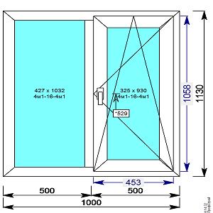 Окно пвх 1000х1130 мм двухстворчатое с 1й поворотно/откидной створкой