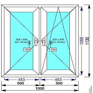 Окно пвх 1000х1130 мм двухстворчатое с 2 мя пов/пов.откидной створкой