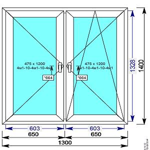 Пластиковое окно REHAU 60 мм 1300х1400 двухстворчатое с 2мя.пов/пов-откидной створкой