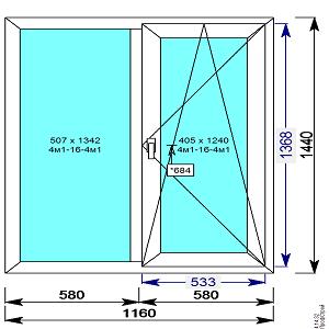Окно пвх 1160х1440 мм двухстворчатое с 1й пов.откидной створкой