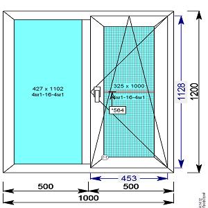 Окно пвх 1000х1200 мм двух/ств.с 1й пов/откидной створкой и м.сеткой