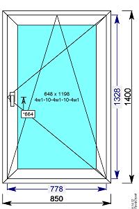 Пластиковое окно REHAU 60 мм 850х1400