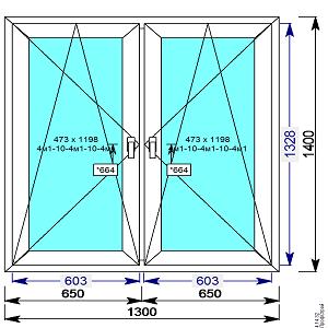 Пластиковое окно REHAU 60 мм 1300х1400 двухстворчатое с 2 мя.пов.откидными створками
