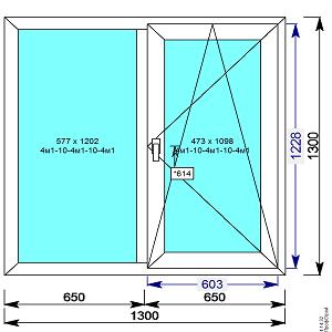 Пластиковое окно REHAU 60 мм 1300х1300 двухстворчатое с 1й.пов/откидной створкой