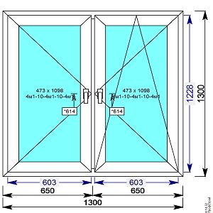 Пластиковое окно REHAU 60 мм 1300х1300 двухстворчатое с 2мя.пов/пов-откидной створкой