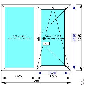 Пластиковое окно REHAU 60 мм 1250х1520 двухстворчатое с 1й.пов/откидной створкой