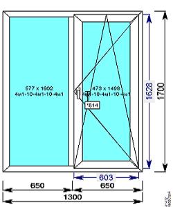 Пластиковое окно REHAU 60 мм 1300х1700 двухстворчатое с 1й.пов/откидной створкой