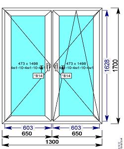 Пластиковое окно REHAU 60 мм 1300х1700 двухстворчатое с 2мя.пов/пов-откидной створкой