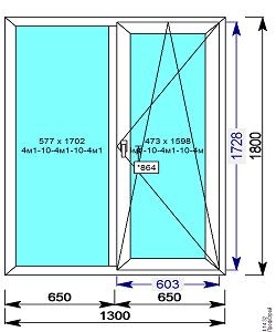 Пластиковое окно REHAU 60 мм 1300х1800 двухстворчатое с 1й.пов/откидной створкой