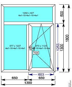 Пластиковое окно REHAU 60 мм 1300х1800 Т образное с 1й.пов/откидной створкой