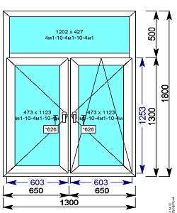 Пластиковое окно REHAU 6о мм 1300х1800 Т образное с 2мя.пов/пов-откидной створкой