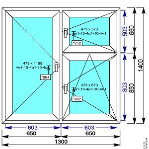 Пластиковое окно REHAU 60 мм 1300х1400 с форточкой