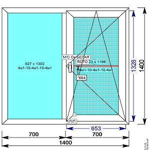 Пластиковое окно REHAU 60 мм 1400х1400 двухстворчатое с 1й.пов/откидной створкой